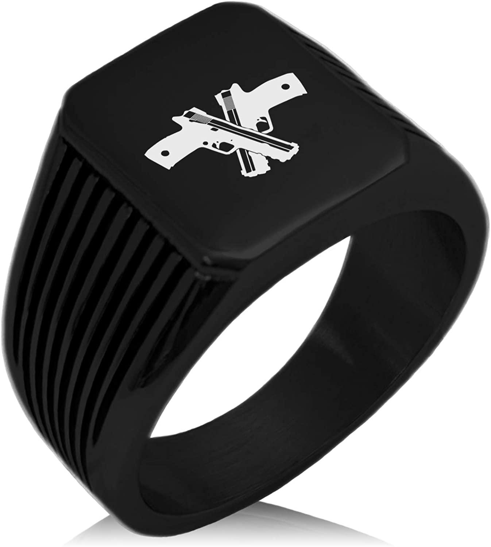 Tioneer Stainless Steel Duelist Emblem Needle Stripe Pattern Biker Style Polished Ring