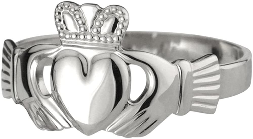 Biddy Murphy Claddagh Ring Sterling Silver Mens Puffed Band Made in Ireland