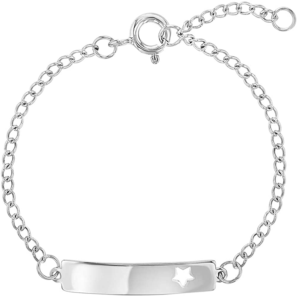925 Sterling Silver Star ID Bracelet Tag Toddlers or Girls Adjustable 5