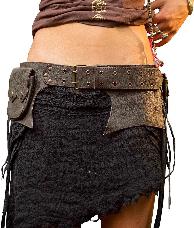 Sirius Star Pocket Belt - Recycled Leather Hip Bag Goa Bohemian Hippie Gypsy Festival Fanny Pack Psytrance Tribal Pocket Boom