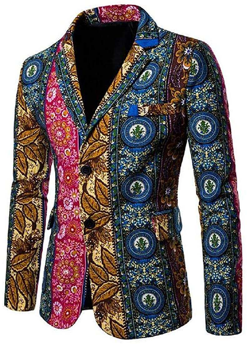 Men Casual Lapel Neck 2-Button Slim African Print Blazer Jacket Coat