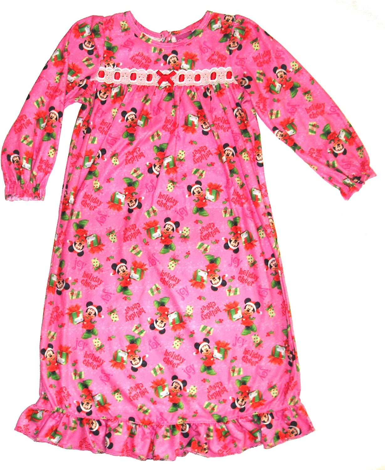 Minnie Mouse Disney's Holiday Cheer Flannel Nightgown~ Toddler 4T Pink