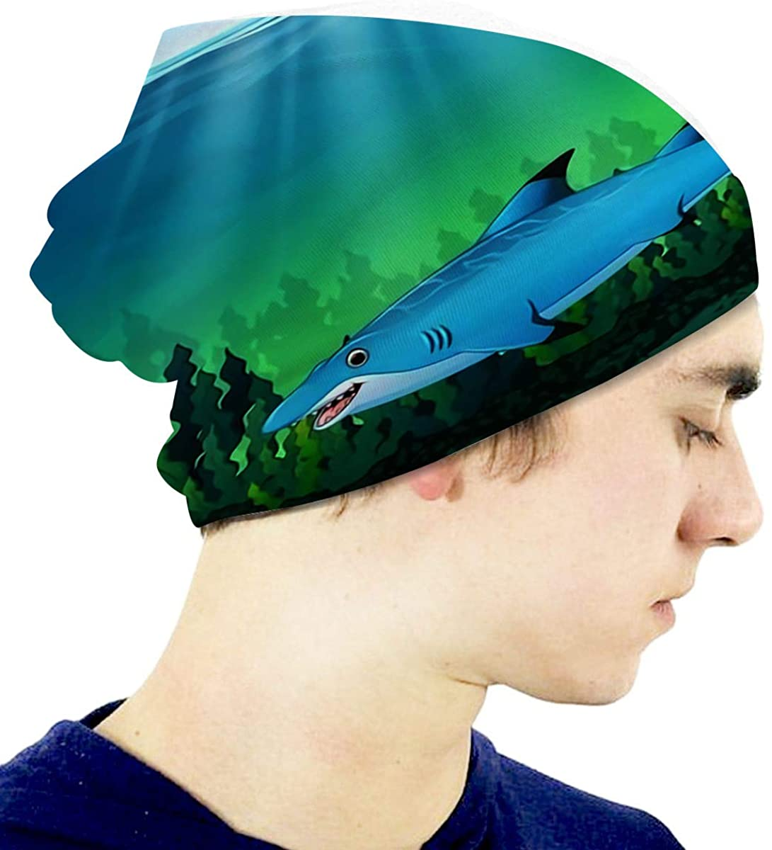 Children Beanies Hat Cartoon Blue Shark Under Water Skull Cap