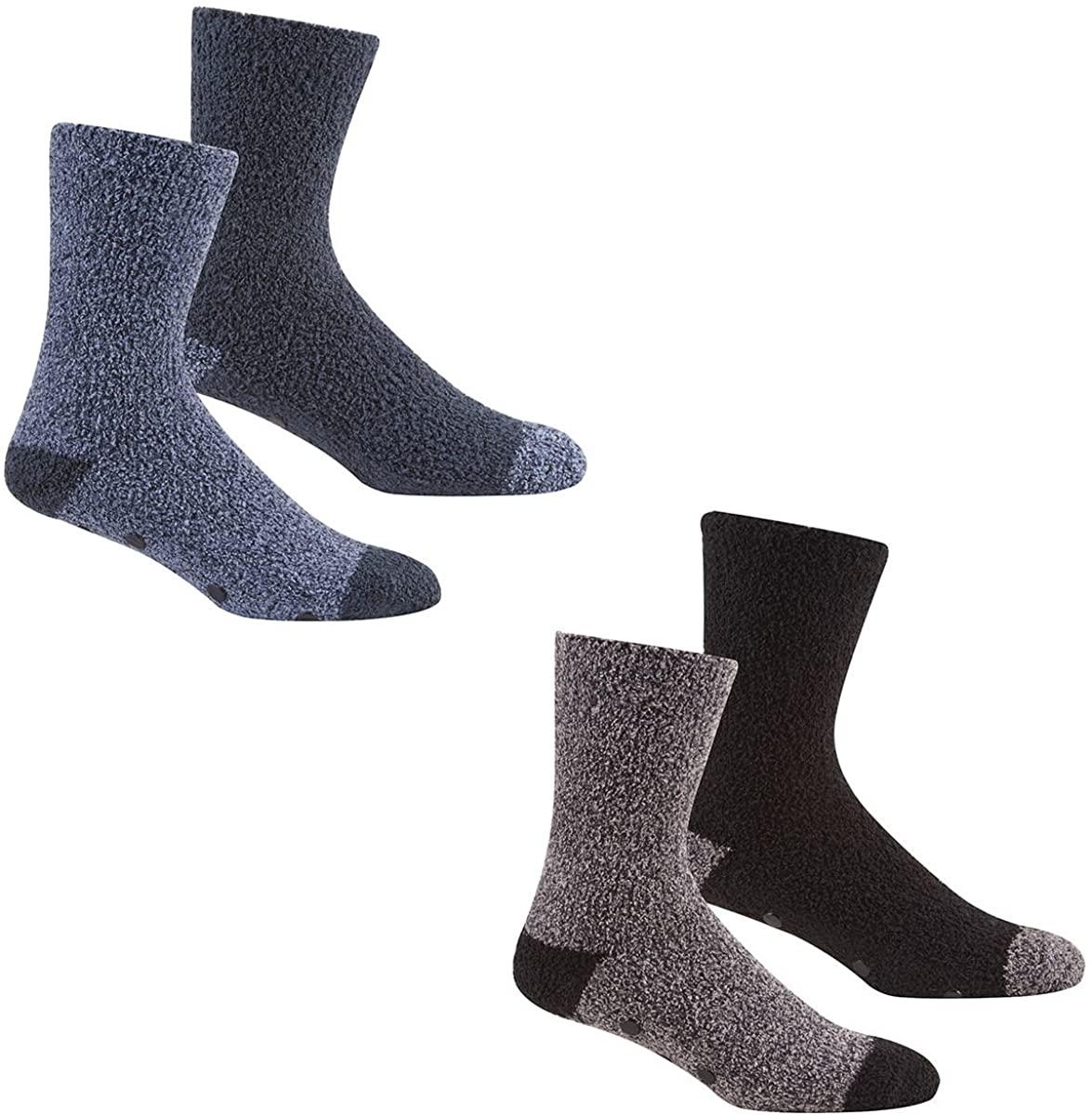 Mens 4 pairs Soft Lounge Socks with Gripper Soles/Slipper Socks