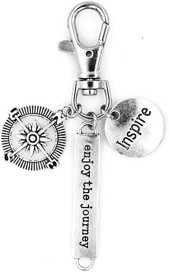 It's All About...You! Enjoy The Journey Compass Inspire Swivel Clasp Clip on Charm 20P