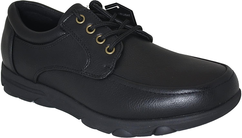Gelato 8551 Moc Toe Lace up Slip & Oil Resistant Men's Comfort Work Shoe with Water & Stain Resistant Upper (9, Black)