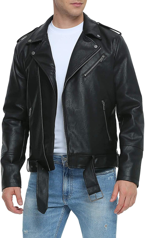 Fahsyee Leather Jackets for Men, Faux Motorcycle Lapel Asymmetric Zip-Up Blet Slim Fit Biker Coat