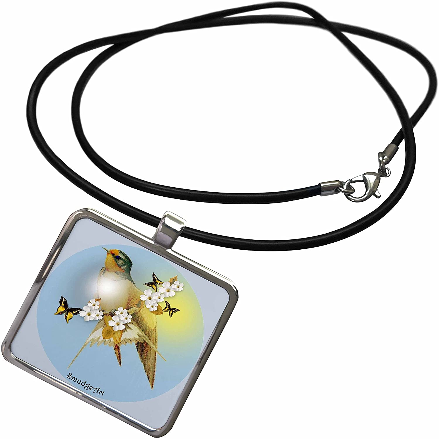 3dRose SmudgeArt Bird Art Designs - Barn Swallow - Necklace with Rectangle Pendant (ncl_7219)