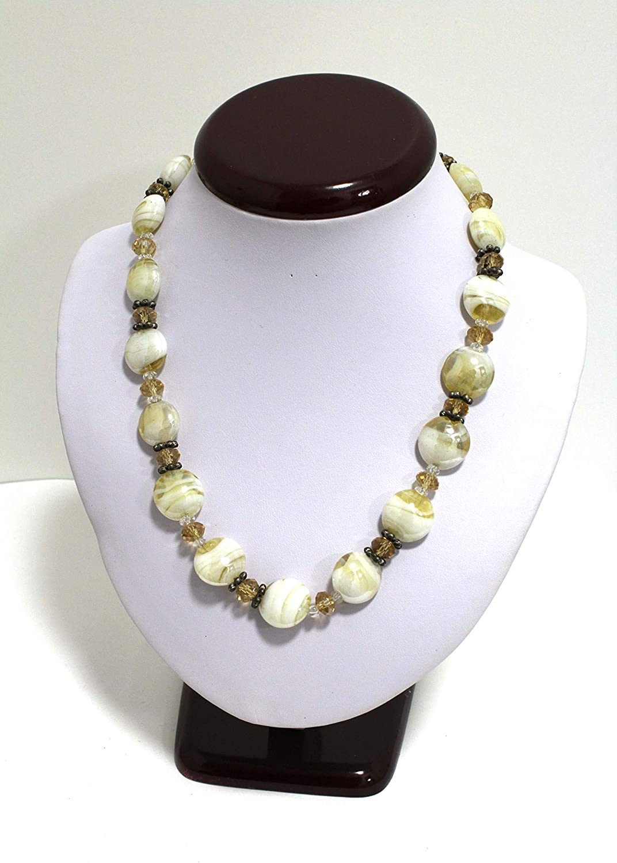 Handmade Gorgeous Vintage Murano Italian White Amber Crystal Glass Bead 19