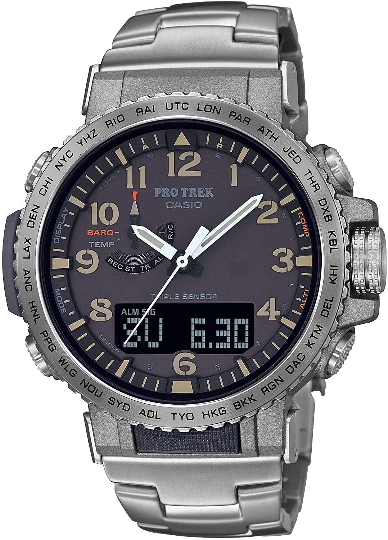 Casio Mens Pro Trek Stainless Steel Quartz Sport Watch with Titanium Strap, Silver, 22 (Model: PRW-50T-7ACR)