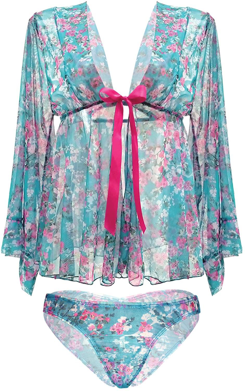 Fantasy Lingerie Mai Tai Kimono Sleeve Robe & Panty Set, Turquoise, Small/Medium