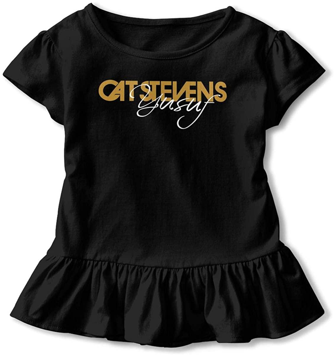 2-6T Baby Soft Lotus Leaf Edge Short Sleeve tee-Cat Stevens Logo Black