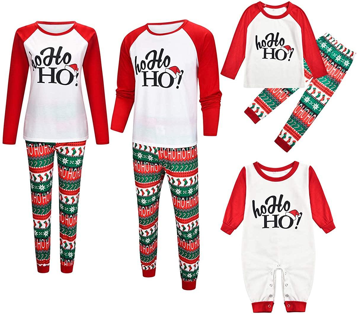 Family Matching Christmas Pajamas Set for Couples Women Men Boy Girl Pjs Nightwear Xmas Sleepwear Clothes Set
