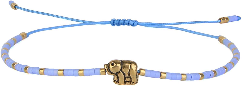 KELITCH New Lucky Elephant Friendship Bracelets Miyuki Beads Strand Bracelets Adjustable Stack Cuff Bracelets