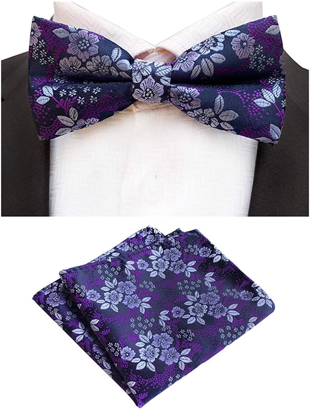MOHSLEE Adjustable Pre-Tied Bow Tie Pocket Square Set Jacquard Silk Wedding Suit
