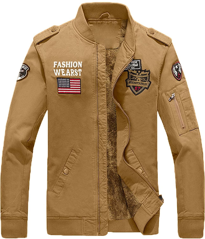 YXP Men's Winter Military Jacket Thicken Fleece Air Force Cotton Coat