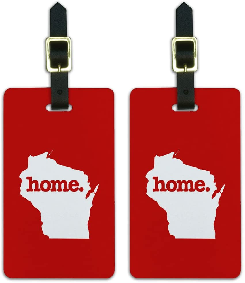 Graphics & More Wisconsin Wi Home State Luggage Suitcase Id Tags-Solid Red, White