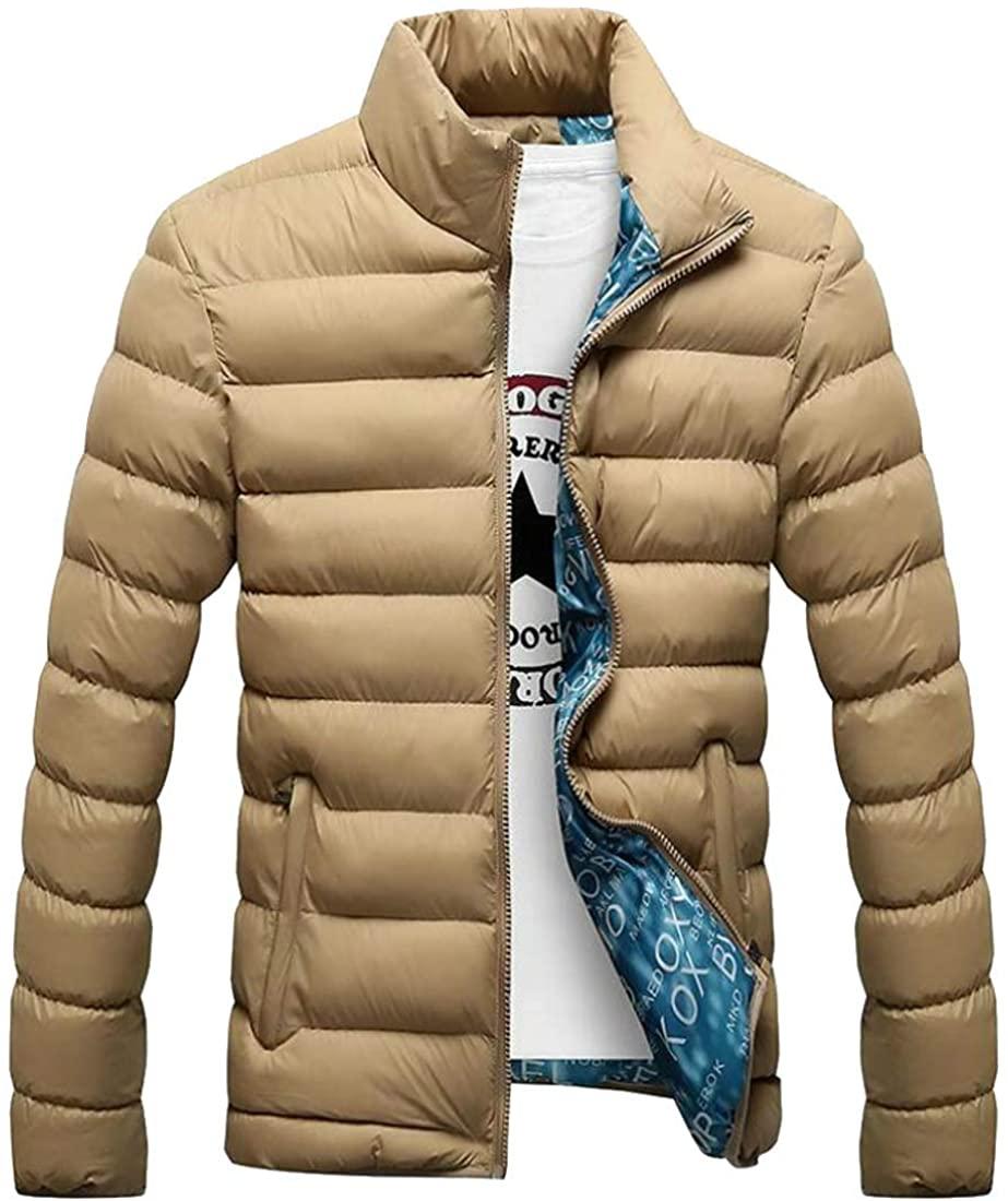 Qiangjinjiu Mens Winter Coats Long Sleeve Cotton Stand Zipper Warm Thick Jacket Outwear