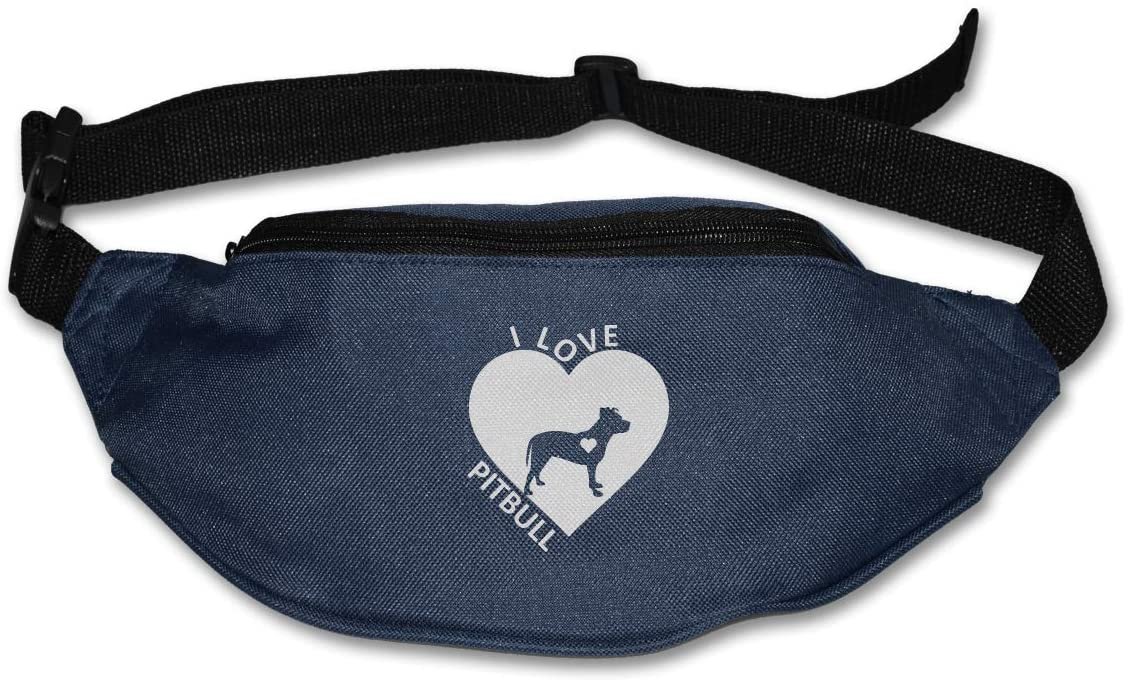 SWEET-YZ Unisex Waist Pack I Love My Pitbull Flat Fanny Bag Pack for Sport Running