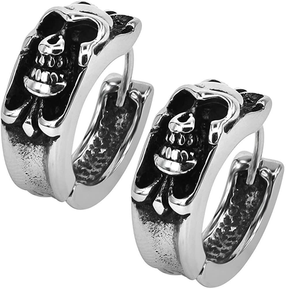 Gothic Skull Hoop Earring Small Stainless Steel Punk Rock huggie Earrings for Men VintageJewelry