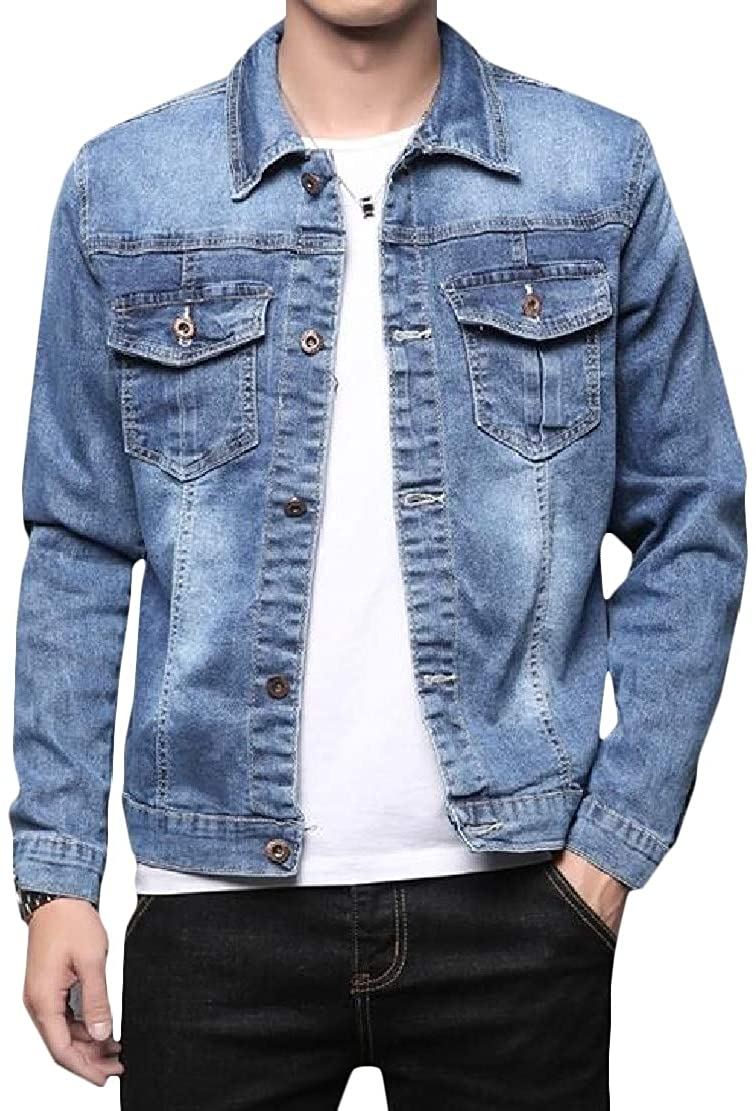 GLORYA Men Stretchy Casual Denim Coat Relaxed Pocket Cowboy Jacket