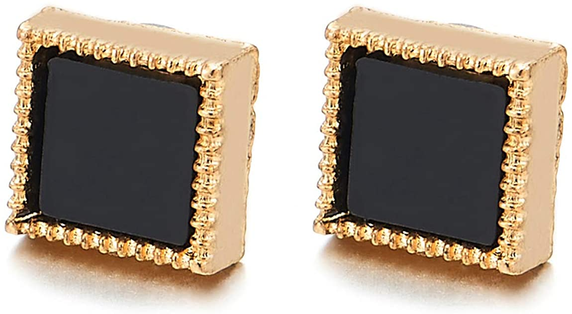 Mens Womens Gold Color Dotted Square Black Acrylic Magnetic Stud Earring, Non-Piercing Clip On Fake
