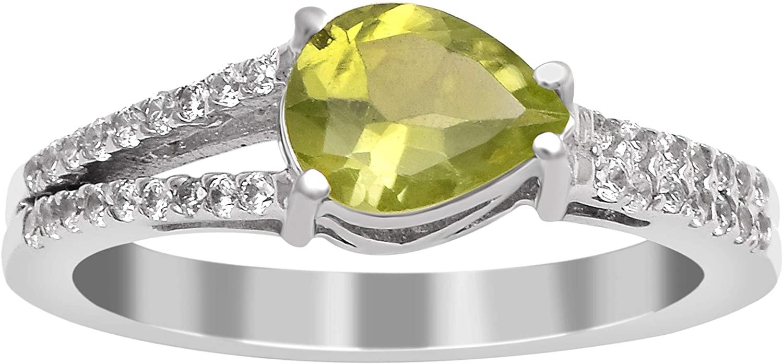 7X5 Pear Cut Prong Set Peridot Gemstone 925 Sterling Silver Split Shank Wedding Ring