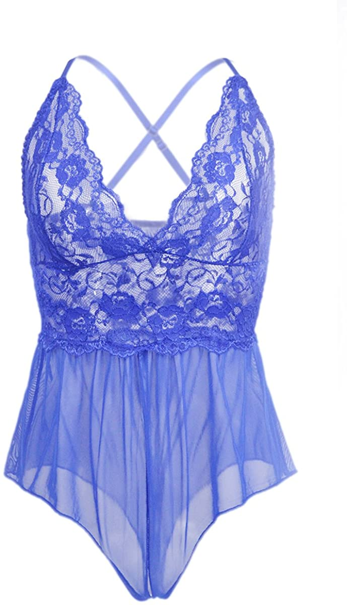 Gilrs Love Plus Size Women Hollow Out Underwear Sexy Lingerie Teddy Lace One Piece Open Crotch Bodysuit with Cross Tie on The Back (Medium, Blue)
