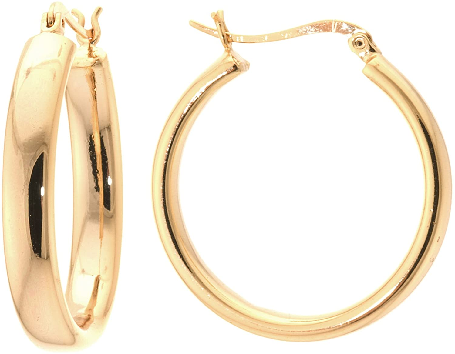 Silver on the Web 24K Gold Over Fine Silver Plated Hoop Earrings,(1.3
