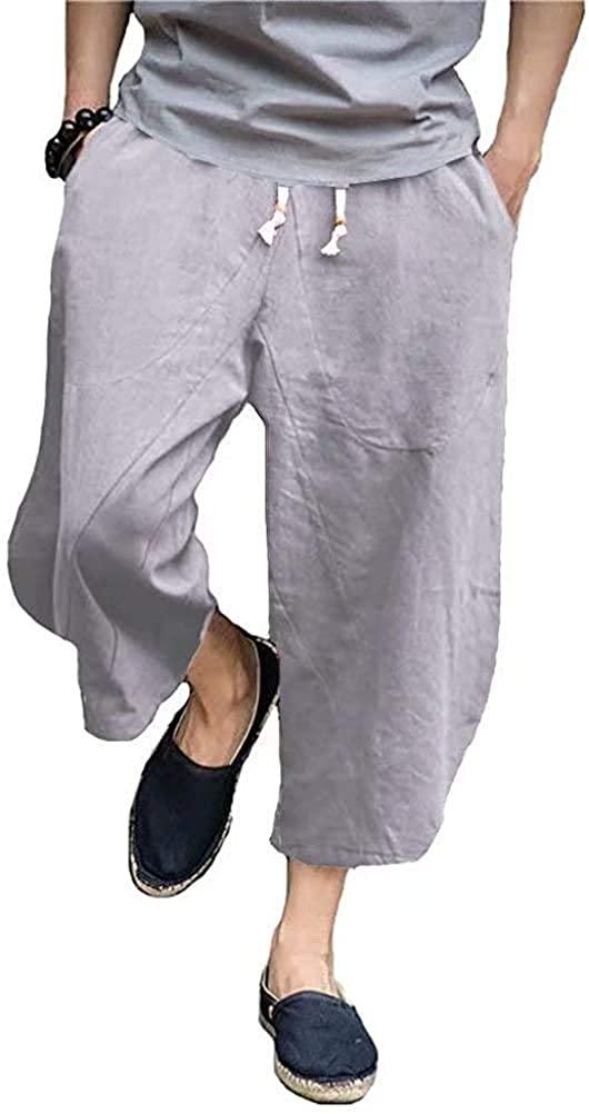 PASLTER Mens Casual Baggy Capri Pants Elastic Waist Linen Lightweight Loose Summer Trousers