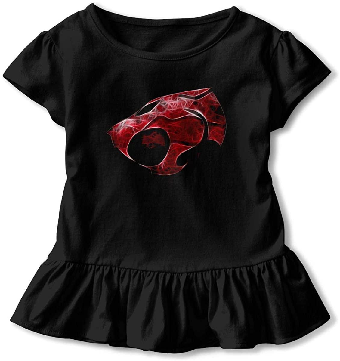 Narukrstore Thundercats Animated Series Toddler Girls' Short-Sleeve Shirts Ruffled T-Shirt Cotton Basic Tee