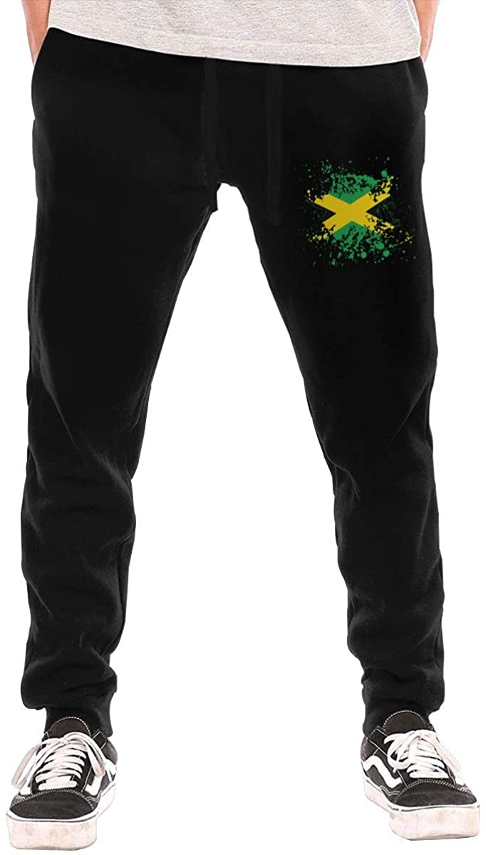 Men's Jamaica Flag Ink Spatter Casual Cotton Jogger Pants, Running Beam Trousers