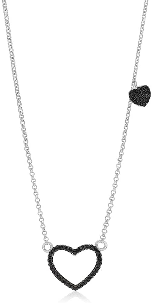 Sterling Silver 925 Open Heart Necklace Pendant Girls Teens Cubic Zirconia 15