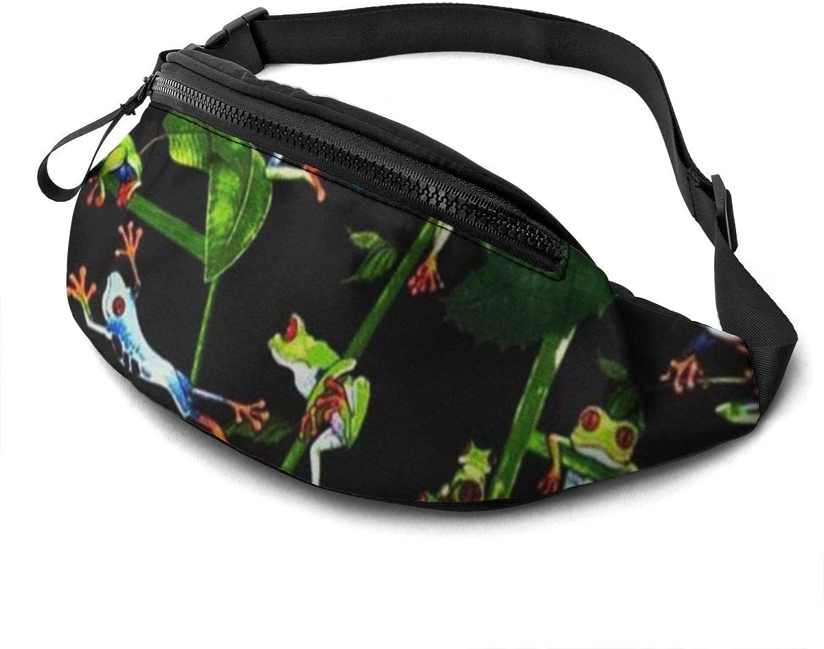 Frog'S Daily Life Fanny Pack For Men Women Waist Pack Bag With Headphone Jack And Zipper Pockets Adjustable Straps
