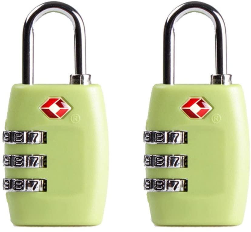 Jasit Mini TSA Approved 3 Digits Metal Combination Luggage Lock Coded Lock (Green, 2pcs)