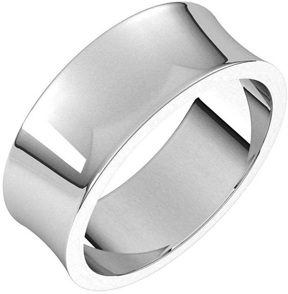 Tarnish Resistant Solid 925 Sterling Silver 7mm Concave Light Wedding Band Size 7