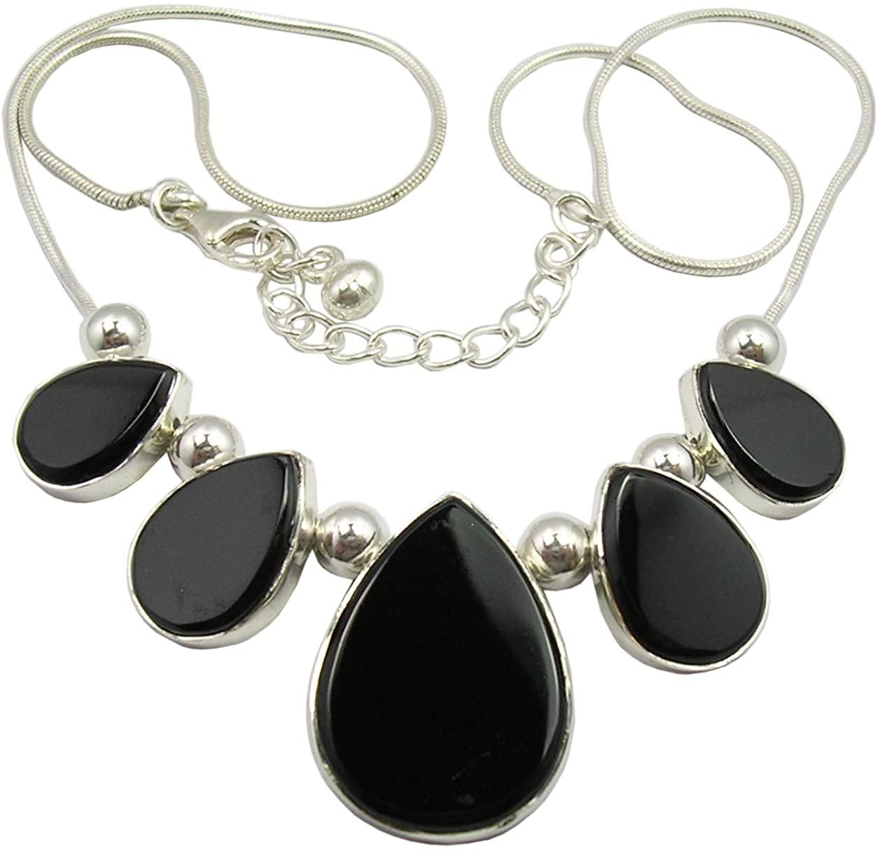SilverStarJewel Solid Sterling Silver Black Onyx Flat Necklace 18.5