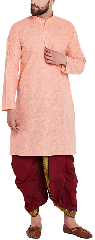 Sojanya Men's Cotton Dhoti Kurta Set Orange
