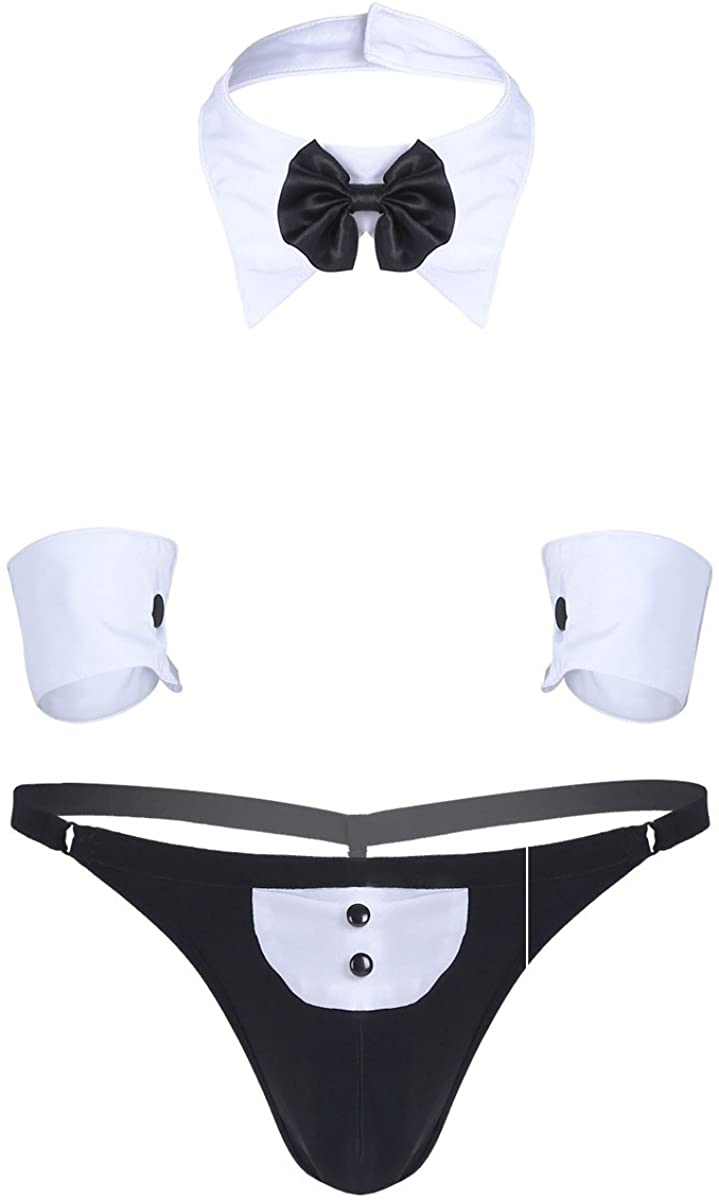 easyforever 3Pcs Mens Waiter Lingerie Suit Tuxedo G-String Thong Underwear Roleplay Nightclub