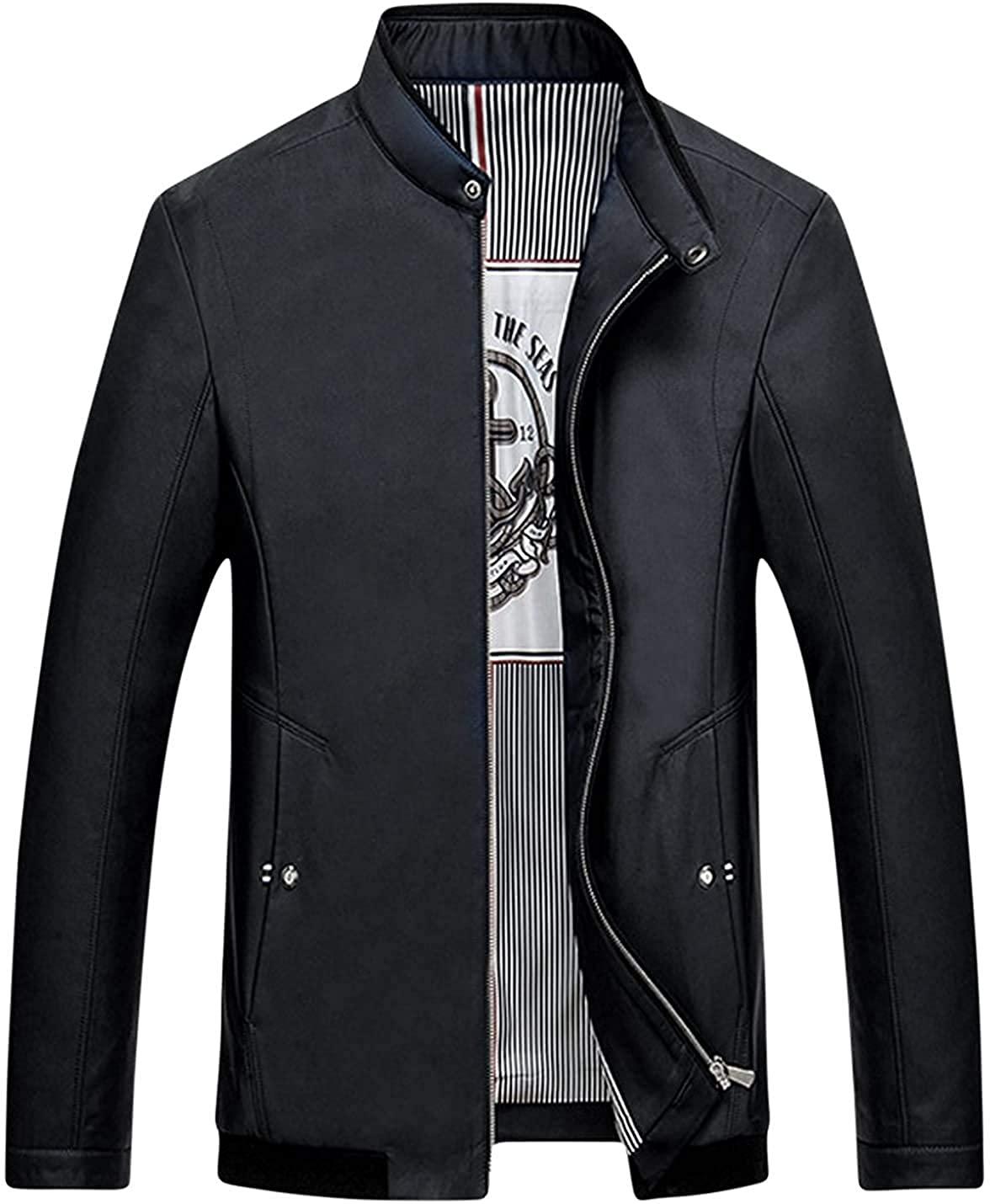 Xudcufyhu Men's Fashion Zipper Long Sleeve Outerwear Jacket Coats