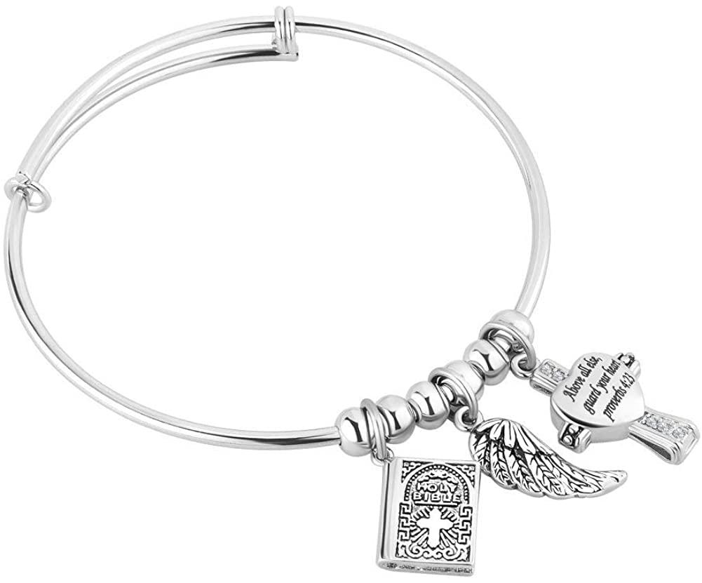CLY Jewelry Expandable Engraved Charm Bracelet Religious Bible Verse Cross Bangle Bracelet