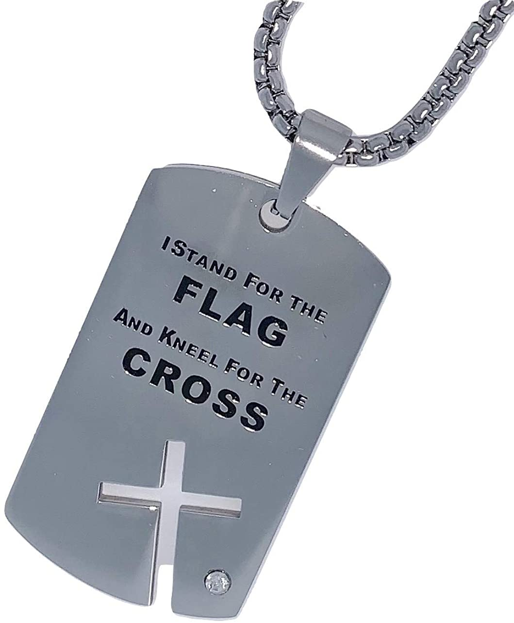 Fun Collections I Stand for The Flag and Kneel for The Cross Stainless Steel Dog Tag Necklace Jewelry