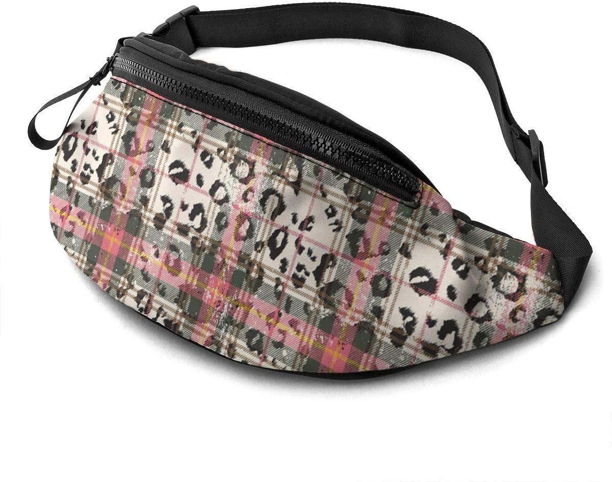 Scottish Tartan With Leopard Skin Fanny Pack Fashion Waist Bag