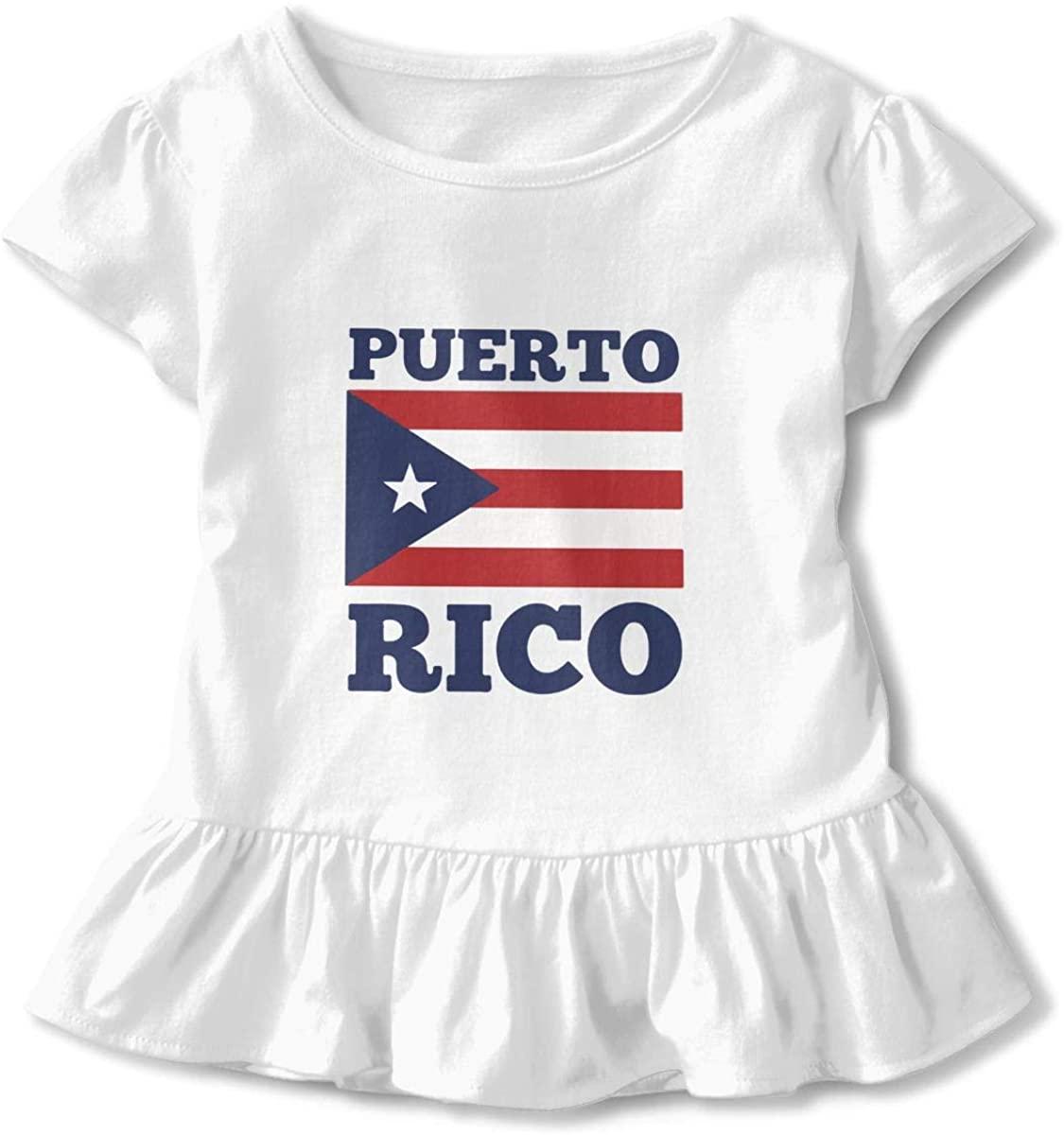 Toddler Girl's Ruffle T-Shirt Puerto Rico Flag Short Sleeve 2-6T