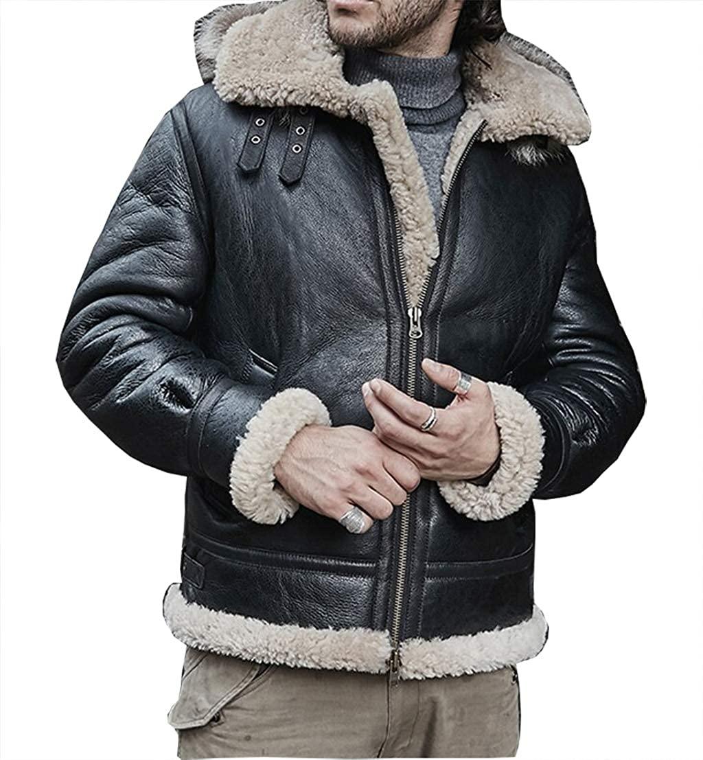New Mens Sheepskin Shearling Jacket Detachable Hooded B3 Flight Jacket Raccoon Fur Collar Aviator Coat
