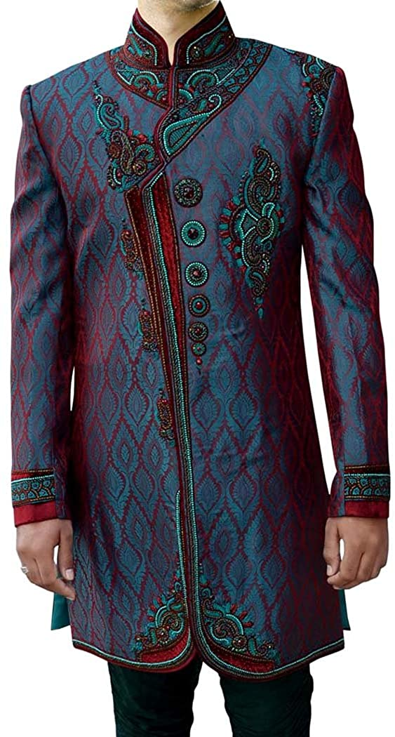INMONARCH Mens Wedding Sherwani Teal Indo Western Designer Work Indian Sherwani IN3681
