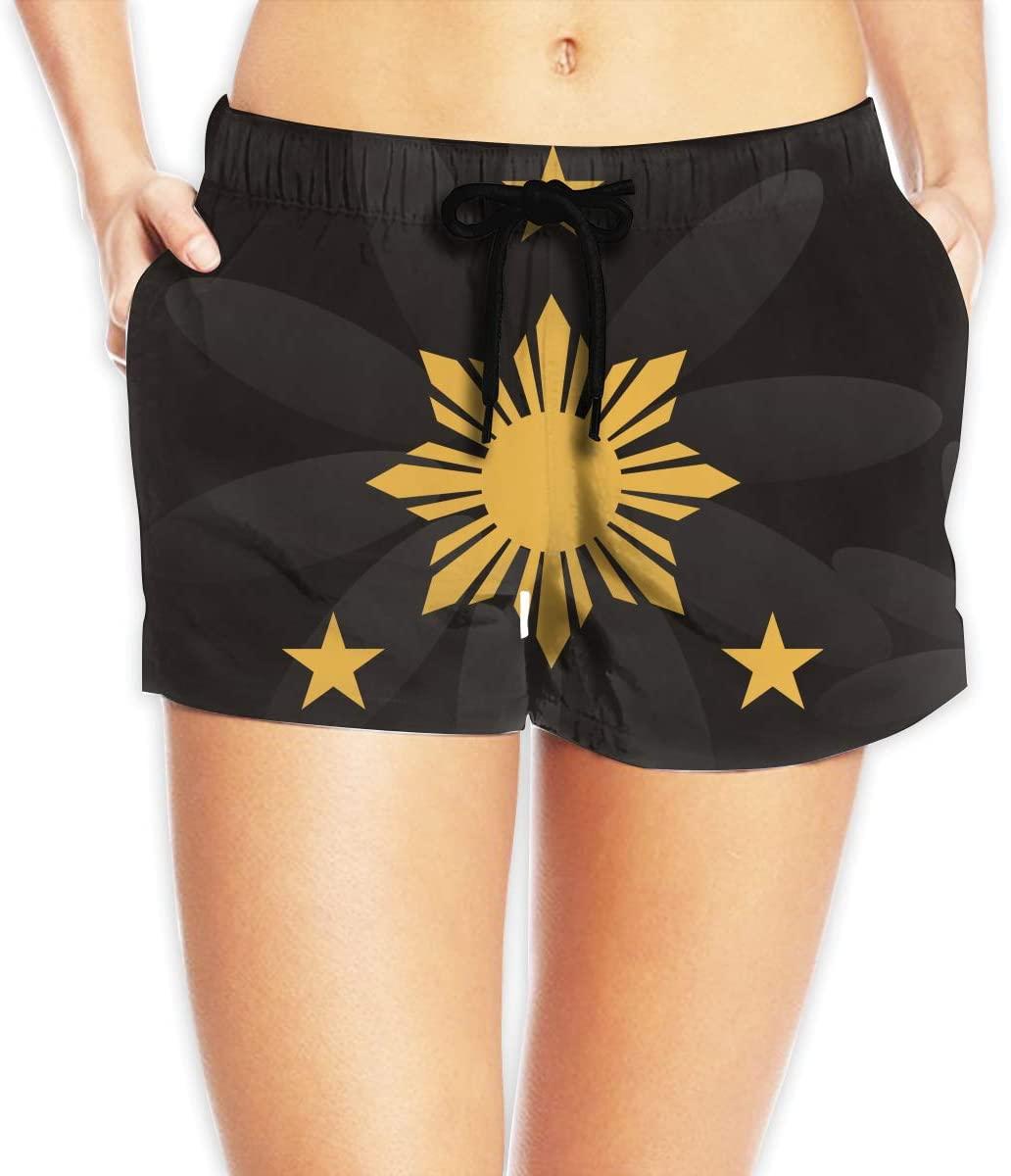Hdecrr FFRE W Filipino Stars and Sun Women's Shorts Summer Quick Dry Drawstring Elastic Waist Casual Pants
