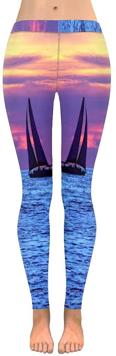 INTERESTPRINT Women's Yoga Pants Summer Beach Sailboa Lighthouse Palm Tree Leaves Stretchy Sport Gym Leggings