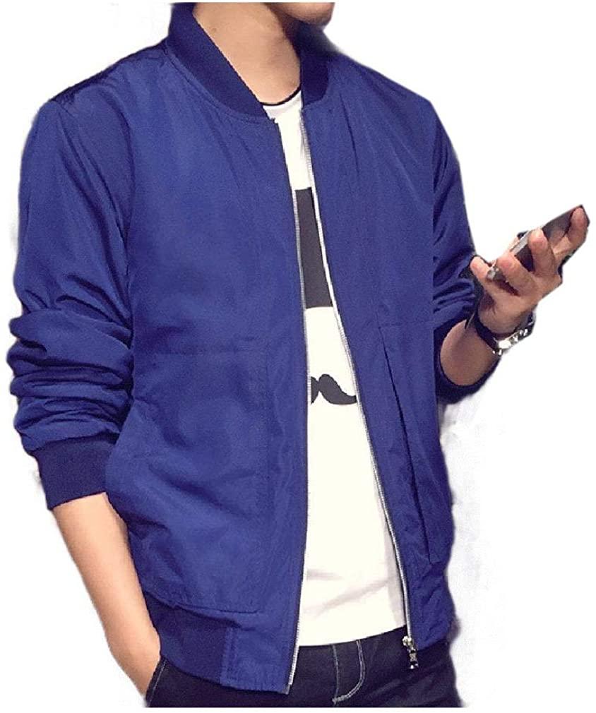 Men Casual Leisure Stand Collar Solid Color Coat Premium Jacket