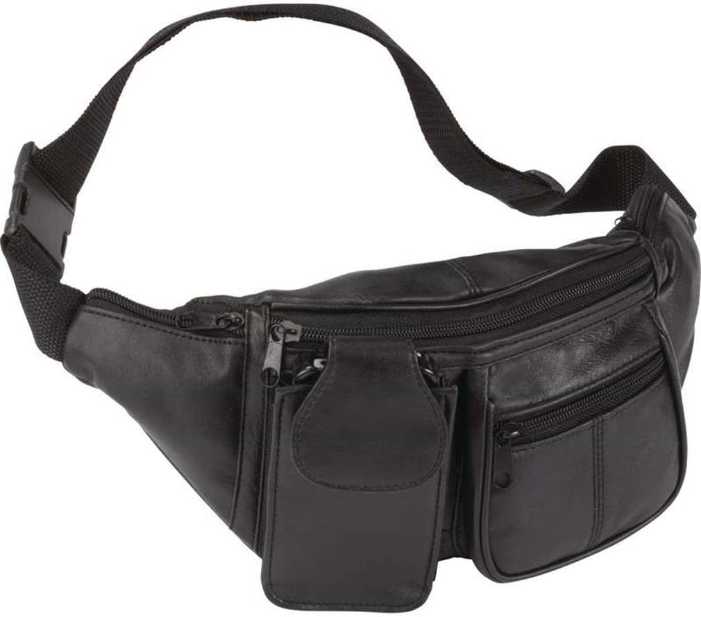 Embassy Solid Genuine Lambskin Leather 6-Pocket Waist Bag